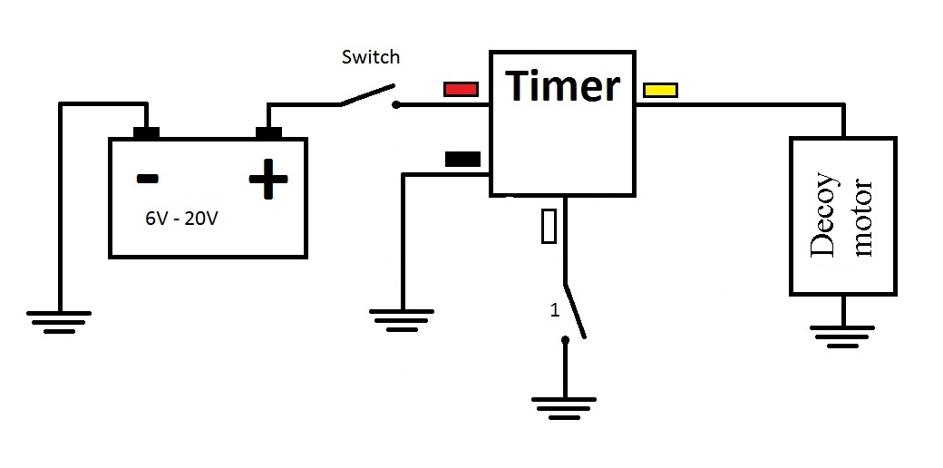 Decoy timer. Programmable 100 on-off cycles. 6V